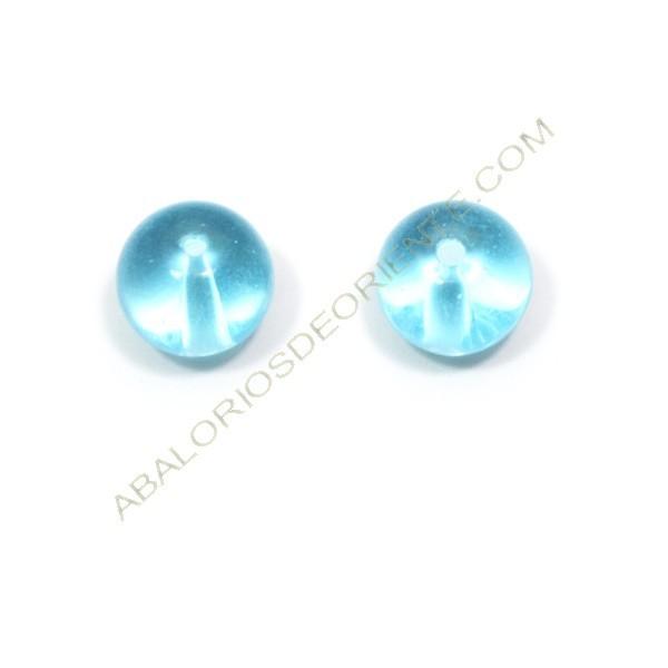 Cuenta de cristal de bohemia redonda turquesa