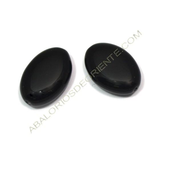 Cuenta de cristal de Bohemia oval plana negra