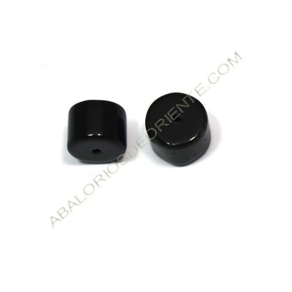 Cilindro de cristal de Bohemia negro 7 x 10 mm