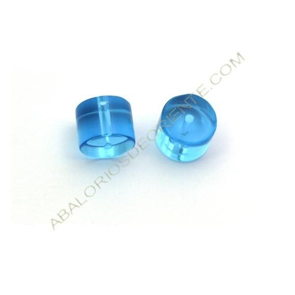 Cuenta de cristal de Bohemia cilindro azul