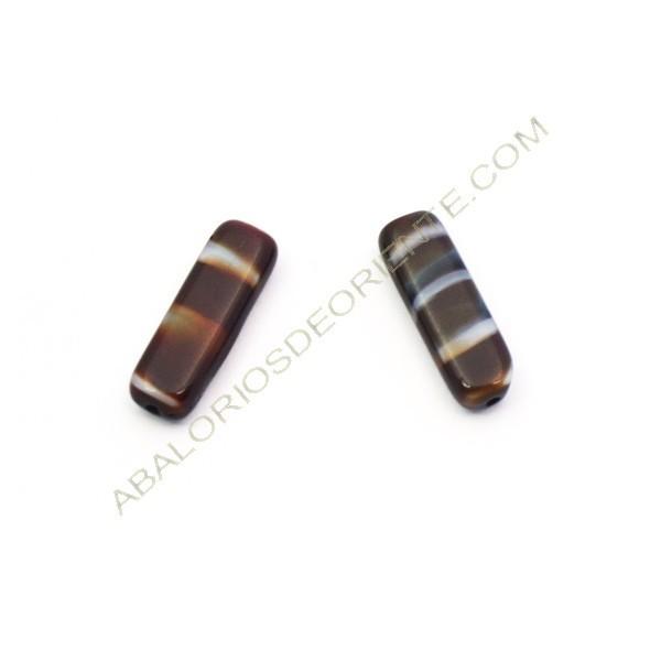 Cuenta de cristal de Bohemia rectángulo plano granate y gris 18 x 6 mm