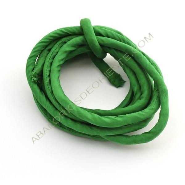 Cordón de seda natural india relleno 8 mm verde botella