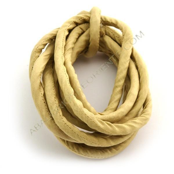 Cordón de seda natural india relleno 8 mm beige de 2 metros