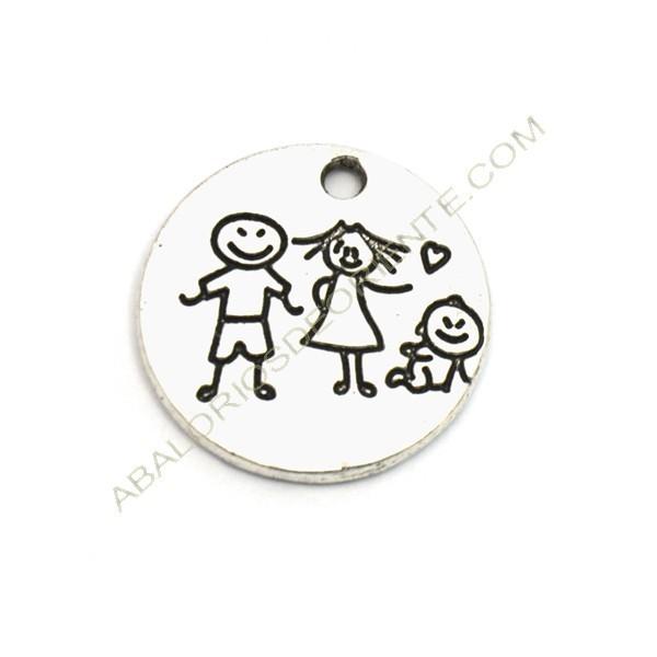 Colgante de aleación de Zinc redondo con dibujo de familia