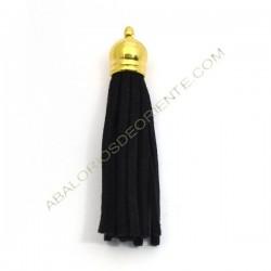 Pompon de antelina negro con capuchón dorado 56 mm