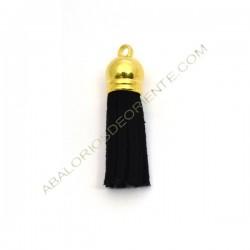 Pompón de antelina negro con capuchón dorado 38 mm