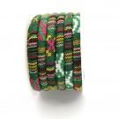 Cordón étnico de algodón de 6 mm verde multicolor