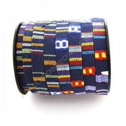 Cordón étnico de algodón plano. 10 x 2 mm azul multicolor