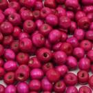 Cuenta de madera redonda rosa fucsia de 7 mm