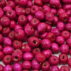 Bolsa de cuentas de madera redonda rosa fucsia de 7 mm