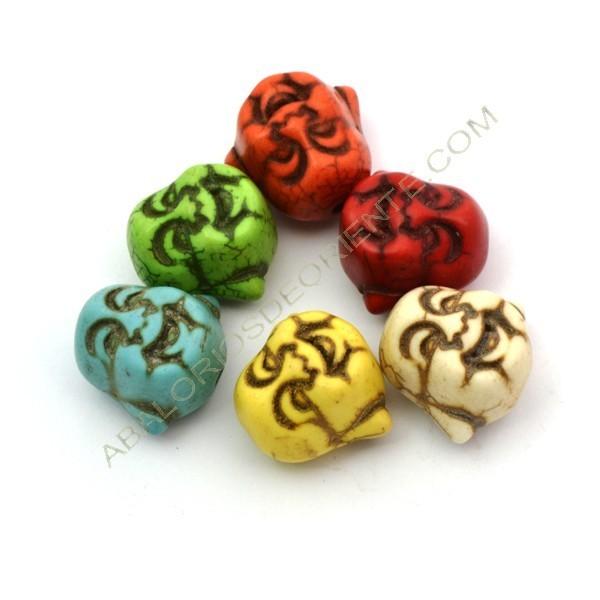 Buda colores 18 x 19 mm de turquesa sintética