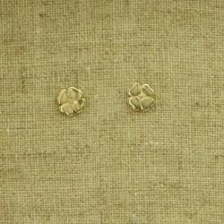 Pendientes de plata 925 chapado en oro flor