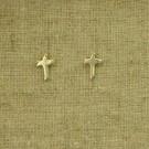 Pendientes de plata 925 chapado en oro cruz latina