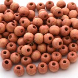 Cuenta de madera redonda rosa de 9 mm