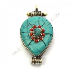 Caja Gau corazón plateada y turquesa