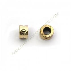 Entrepieza de aleación de Zinc barril chapada en oro 6 mm