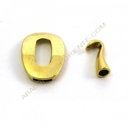 Cierre de metal dos partes eslabón ovalado + gancho dorado