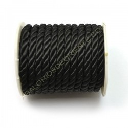 Cordón trenzado de algodón negro 4 mm