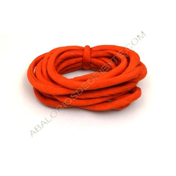 Cordón de seda natural india relleno 4 mm naranja de 2 metros