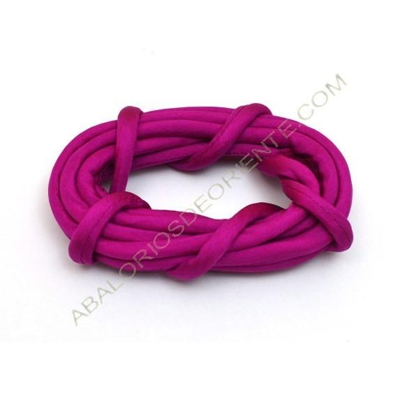 Cordón de seda natural india relleno 4 mm rosa fuerte de 2 metros