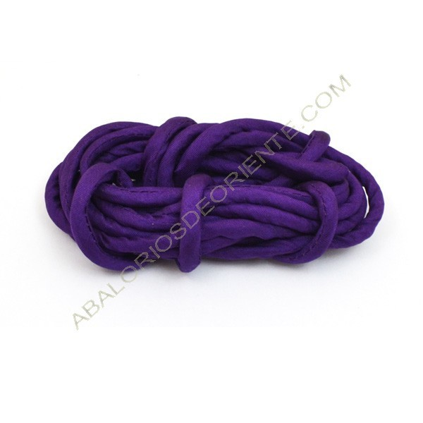 Cordón de seda natural india relleno 4 mm morado de 2 metros