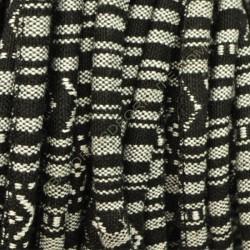Cordón étnico de algodón de 6 mm blanco y negro