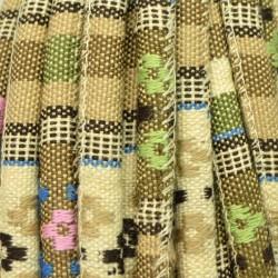 Cordón étnico de algodón de 6 mm beige y verde multicolor