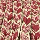 Cordón étnico de algodón trenzado burdeos y blanco