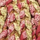 Cordón étnico de algodón trenzado burdeos y beige