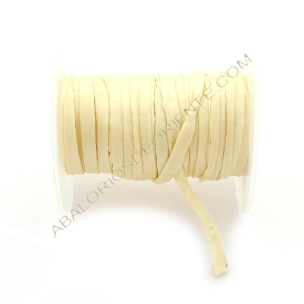 Cordón de seda natural india Habotai marfil 5 mm