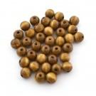 Cuenta de madera redonda marrón claro de 11 mm