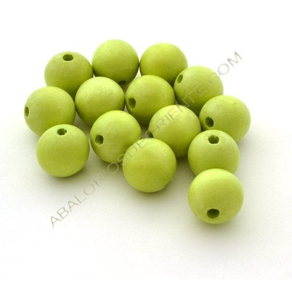 Cuenta de madera bola verde lima de 20 mm