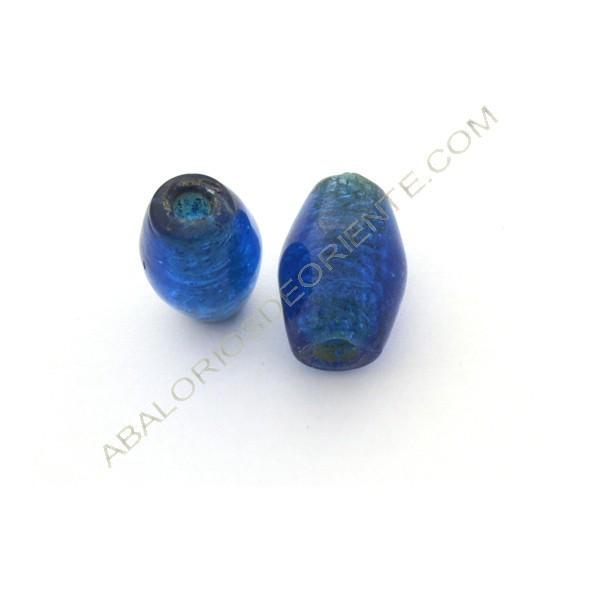 Cuenta de cristal indio barril azul