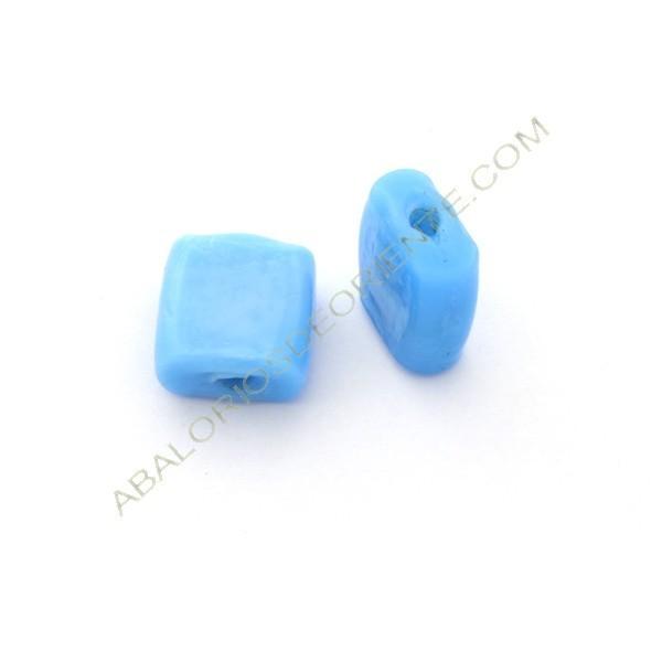 Cuenta de cristal de Murano cuadrada plana irregular turquesa 20 x 19 x 9 mm