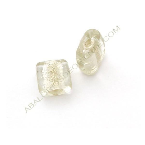 Cuenta de cristal de Murano cuadrada plana irregular transparente
