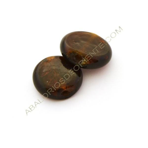 Cuenta de cristal de Murano redonda achatada plana marrón