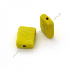 Cuenta de cristal de Murano rectangular plana opaca amarilla