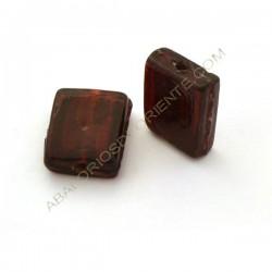 Cuenta de cristal de Murano rectangular plana granate