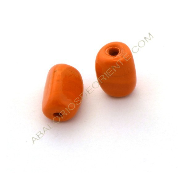 Cuenta de cristal de Murano cilindro cortado tres caras naranja 23 x 16 x 16 mm