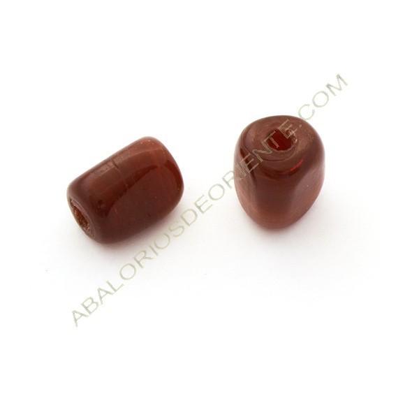 Cuenta de cristal de Murano cilindro cortado tres caras granate 21 x 15 x 15 mm