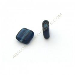 Cuenta de cristal de Murano cuadrada plana azul. 13 x 13 x 6 mm