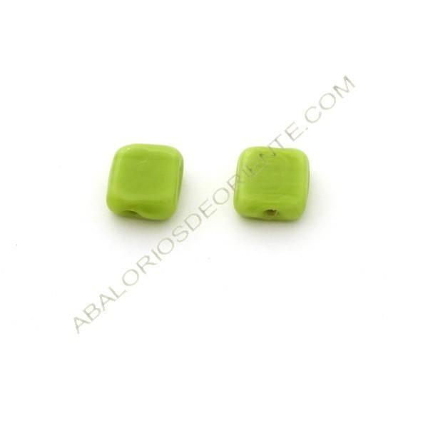Cuenta de cristal de Murano cuadrada plana verde 13 x 13 x 6 mm