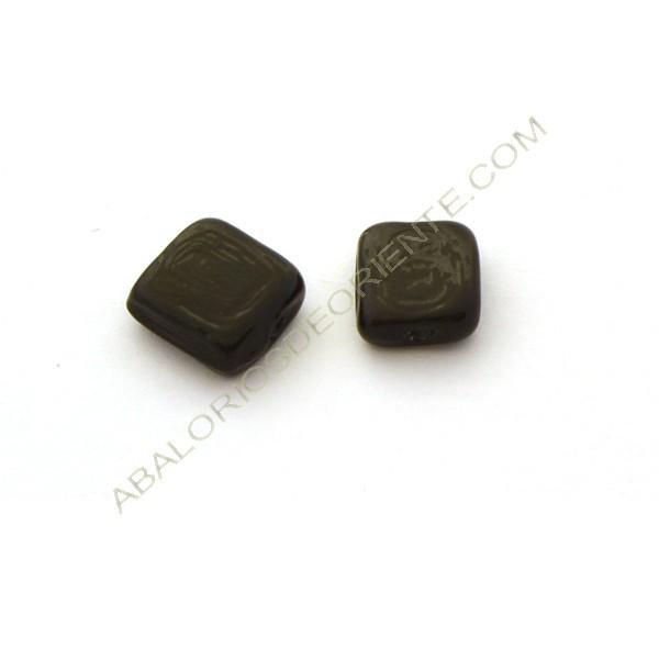Cuenta de cristal de Murano cuadrada plana opaca negra