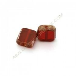 Cuenta de cristal de Murano cuadrada plana granate y reborde plata 13 mm