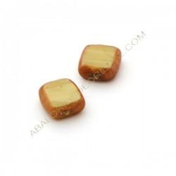 Cuenta de cristal de Murano cuadrada plana beige y marrón 13 x 13 x 6 mm