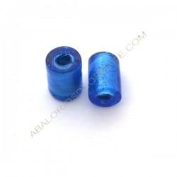 Cuenta de cristal de Murano cilindro azul