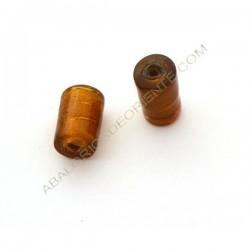 Cuenta de cristal de Murano cilindro ámbar