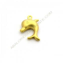 Colgante delfín de metal dorado mate