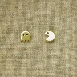 """Pendientes de plata 925 chapado en oro """"PacMan"""""""
