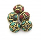 Cuenta Tibet bola achatada dorada